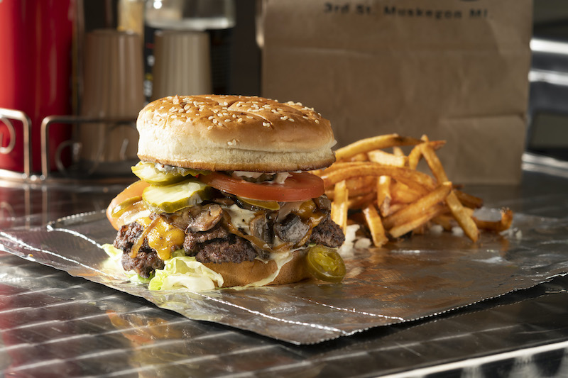 Hamburger Mikey, Original Mikey burger, pictured with fries